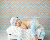 Newborn flap-bottom pants AND coordinating hat SET in light blue, orange, or gray