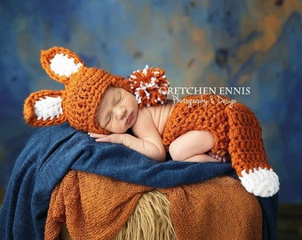 Newborn crochet fox hat and diaper cover set