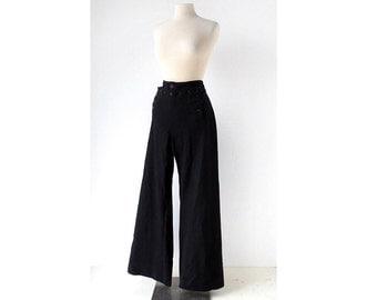Vintage Sailor Pants / US Navy Pants / 1940s Pants / Wool Trousers / 35-36W