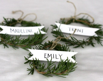 Mini Banner Place Card, Escort Card, Custom hand lettered calligraphy