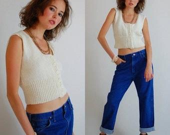 Crop Sweater Vest Vintage 70s Cream Chunky Knit Indie Preppy Crop Sweater Vest (s m)