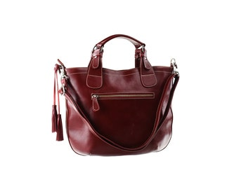 SALE - Burgundy Leather Handbag, Women Leather Purse, Shoulder Leather bag, Handbag with tassel.