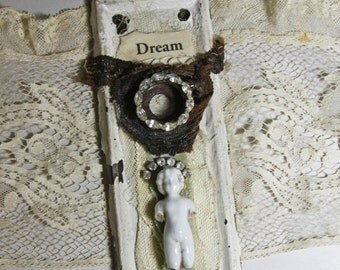 Escutcheon Plate Door Hardware Assemblage Art with Skeleton Key Rhinestones and Frozen Charlotte Doll