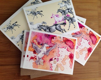 Boxed Cards, Horses, Pegacorn, Greeting Cards, Horse Lover, Note Card Set, Adorable Gifts, Blank Cards, Gift for Her, Blank Notecards