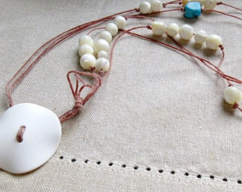 Math Jewelry - Pi Necklace - Turquoise Mother of Pearl Cotton - Math Teacher Graduation Gift