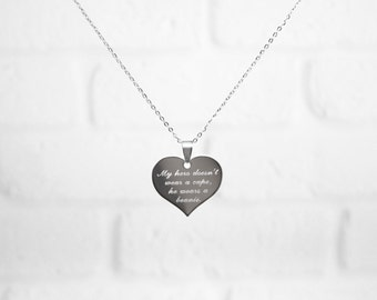 Engraved Necklace, Personalized Name Necklace, Engraved Heart, Stainless Steel, Quote Necklace, Silver Necklace, Monogram Jewelry