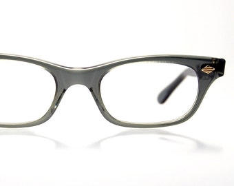 Gray Smoke Horn Rim Unisex Eyeglasses Frames SRO Optical Frame USA  NOS Vintage 60s Eye-wear