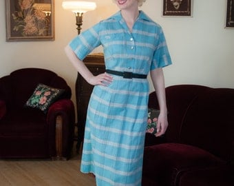 Vintage 1950s Dress - Fabulous Blue Plaid Rayon Cotton 50s Day Dress with Novelty Western Fringe Detailing