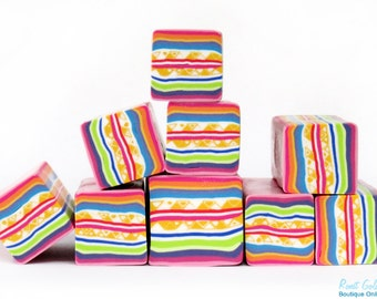 Colorful polymer clay Square cane , White, yellow, green, blue, red, pink and purple stripes , raw and unbaked Fimo cane by Ronit Golan