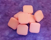 Pink Retro Mod Buttons, 14mm 1/2 inch - Pastel Pink Plastic Rounded Square Vintage Buttons - 8 NOS Glossy Rose Quartz Pink Buttons PL415 2LS
