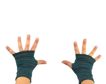 Toddler Arm Warmers in Hurricane Stripes - Teal Green and Grey Stripes - Bamboo Fingerless Gloves
