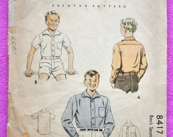 McCall 8417 - Very Rare 1930s Boys' Shirt Pattern - Sporty Vintage Shirt with Long or Short Sleeves - Size 6 - Good Condition