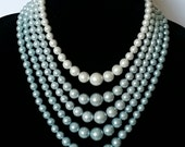 Wrapsody In Blue Five Strand Vintage Graduated Faux Pearl Choker Necklace, On HOLD for L.