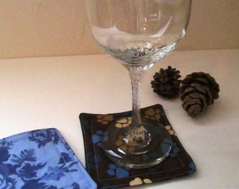 CLEARANCE, Paw print fabric drink coasters, reversible, Set of four / Hostess gift / drink barware