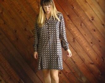 Geo Printed LS Mini Secretary Dress - Vintage 70s - LARGE
