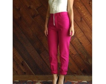 Bright Pink Vintage 80s 90s United Colors of Benetton High Waisted Twill Pants SMALL S