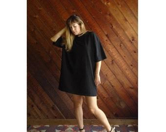 Oversize Black s/s Tee Shirt Tunic Mini Dress - Vintage 80s - OS OSFM