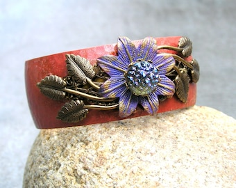 Purple Flower Cuff Bracelet, Brass Cuff, Vintage Elements, Handmade Bracelet