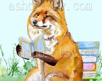 Fox print, fox wall art, woodland nursery print, nursery fox decor, yellow nursery decor, fox printable, watercolor fox,Book Lover,Book fox