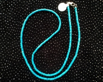 Turquoise Button Necklace   N56