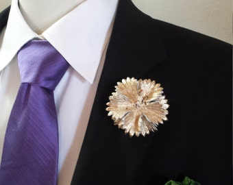Gilded Leather Bachelor Button Boutonniere