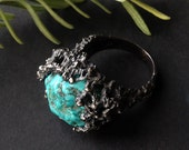 Brutalist Revival Ring, Texas Holey Rock Ring, Turquoise and Silver, carved from wax and cast in my Studio, jewelry made in austin