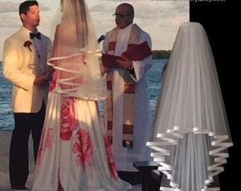 Bridal Veil, Radiance Veil, 2-Tier Bridal Veil, Bias-Bound Edge Veil, Satin Edge Veil, Waist Elbow Veil, Made-to-Order Veil, Bespoke Veil