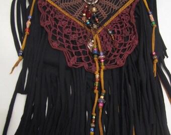 Jeweled Gypsy Fringe Crossbody Bag