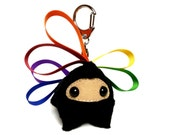 Plush Ninja⎮Rainbow⎮Hearts (Small) With Bag Clip ~ A Custom Order for Christine