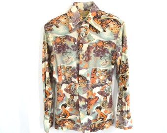 70s Pastoral Park Scene Long Sleeve Button Up Disco Shirt