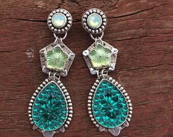 Green glass statement earrings, southwestern statement earrings
