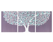 Wall Art for Girls Room - Flower Tree Painting on Canvas Triptych - Purple and Aqua Large 50x20