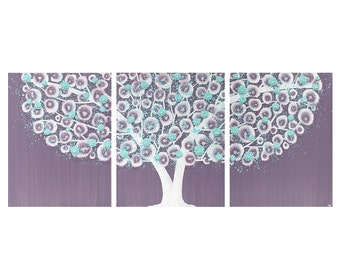 Wall Art for Girls Room - Flower Tree Painting on Canvas Triptych - Purple and Aqua Large 50x20 - MADE TO ORDER