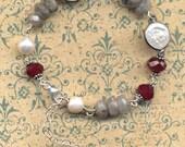 Sterling Silver Bracelet, Labradorite , Natural pearls, Wine Cherry and Labradorite Sterling Bracelet, Unique Sterling Silver by Annaart72