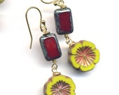 Green and Red Earrings, 18 K Gold Filled Earrings, Floral Gold Earrings, Olive and Ox Red Earrings, Handmade Jewelry by Annaart72