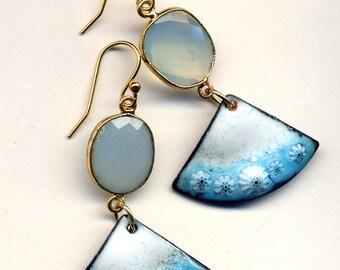 Blue Onyx Earrings, Enamel Asian Fan Earrings, White and Blue Earrings, 18 K Gold Filled Cooper Earrings, Handmade by Annaart72