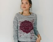 women's long sleeve rose pullover sizes s, m, l, xl
