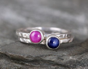 Star Ruby or Star Sapphire Stacking Rings - You choose star ruby or star sapphire - Sterling Silver - Rustic Style - Handmade in Canada