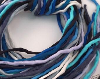 SALE Priced Silk Ribbon Cord Bundle Item No.392 Contains Ten 2mm Silk Ribbons Random Colors