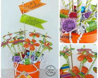 Teacher Flower Bouquet Nugget Wraps & Tags /Teacher Appreciation Gift / Gift Idea / Hershey Nugget Wraps / Flags/ Gift Cards / Paper Flower