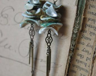 Mermayde. Boho Beach Mermaid Gypsy Vintage Shell and Brass Filigree Fringe Earrings.