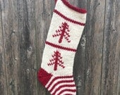 Christmas Stocking with Hand Stitched Trees, Knitted Christmas Stocking
