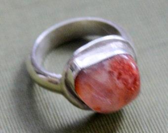 STERLING Silver Ring Stone Big Chunky Boho Vintage