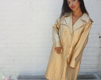 1970s Vintage Coat Gold Vinyl Double Breasted Trench