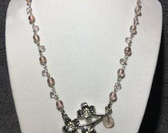 Sakura blossom necklace, pale pink.