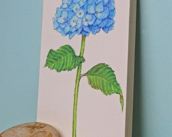 Blue Hydrangea Flower Print Mounted Wood Block Floral