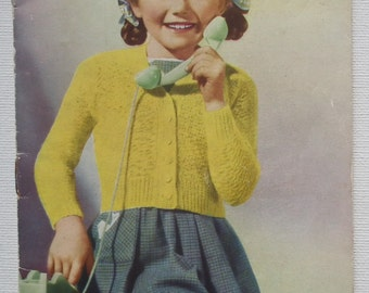 Vintage 1940s Knitting Pattern Girl's Children's Cardigans Jumper Sweater 40s original colour pattern Pocket Knitting Series No. 4 UK