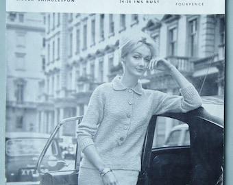 Vintage Knitting Pattern 1960s Women's Suit Jumper Sweater and Straight Skirt  60s original pattern Lister Lavenda No. B5009 UK