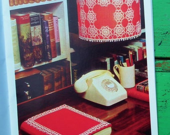 Crochet Lampshades & Accessories Vintage 1970s Crochet Patterns Coats Sewing Group Book 1155 UK 70s Home Decor Lighting Dressing Table Mats