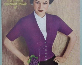 Vintage 1940s 1950s Knitting Pattern Women's Cardigan fitted ribbed waist 40s 50s original pattern Sirdar No. 1437 UK